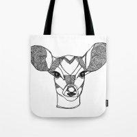 Monochrome Deer by Ashley Rose Tote Bag