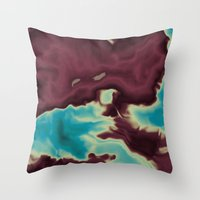 blue and burgundy clouds Throw Pillow