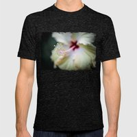 white hibiscus Mens Fitted Tee Tri-Black SMALL