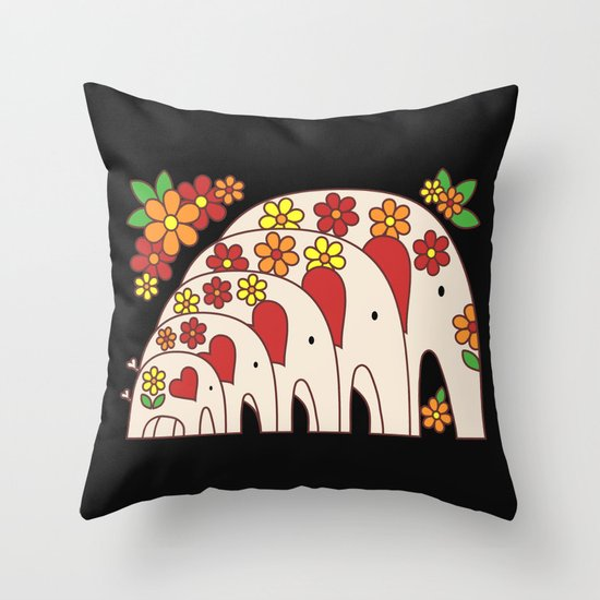 Matrioshka Elephants (large) Throw Pillow