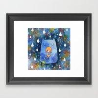 Cat Hug Framed Art Print