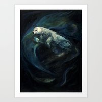 Polar Bear Swimming in Northern Lights Art Print