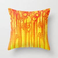 SUMMER SENTIMENTS - Bright Abstract Floral Garden Bold Summer Yellow Red Orange Flowers Painting Throw Pillow