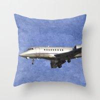 Dassault Falcon 2000 Jet Art Throw Pillow