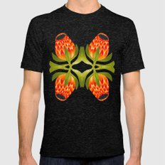 Floral symmetry 1. Mens Fitted Tee Tri-Black SMALL