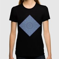 Shades of blue mandala Womens Fitted Tee Black SMALL