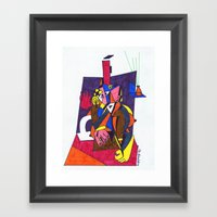 woman by the fireplace Framed Art Print