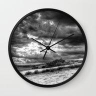 Wall Clock featuring The Hillside Storm by David Pyatt