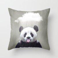 Panda Rain Throw Pillow