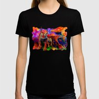 Psychedelic Tigers Womens Fitted Tee Black SMALL