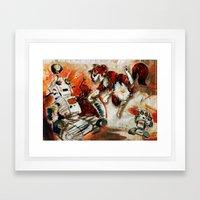 Cat Vs. Robot Framed Art Print