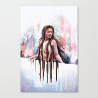 Beside The Wall She Stoo… Canvas Print