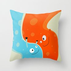 Hugging Cute Cartoon Characters Throw Pillow