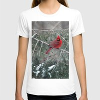 Winter Cardinal Womens Fitted Tee White SMALL