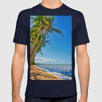 Coconut palms in Tropical North Queensland Mens Fitted Tee Navy SMALL
