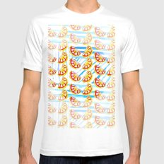 Stripes and Oranges Mens Fitted Tee White SMALL