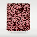 Neon Coral Leopard Shower Curtain