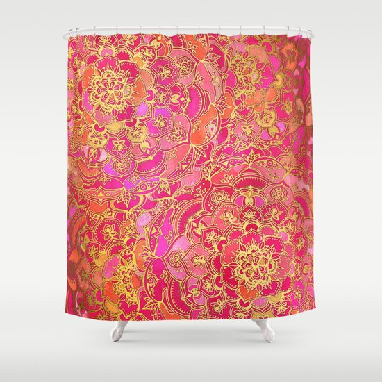 Hot Pink And Gold Baroque Floral Pattern Shower Curtain By Micklyn Society6
