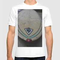 Surf Board Mens Fitted Tee White SMALL