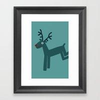 Reindeer-Teal Framed Art Print