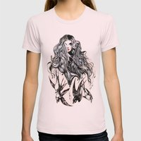 Woman & birds  Womens Fitted Tee Light Pink SMALL