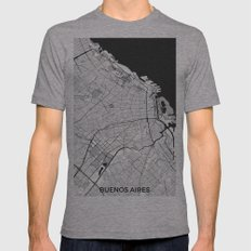 Buenos Aires City Map Gray Mens Fitted Tee Athletic Grey SMALL