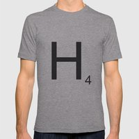 Scrabble H Mens Fitted Tee Athletic Grey SMALL