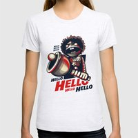 HELLO! HELLO! (white) Womens Fitted Tee Ash Grey SMALL