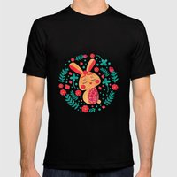 Spring Easter Bunny Mens Fitted Tee Black SMALL