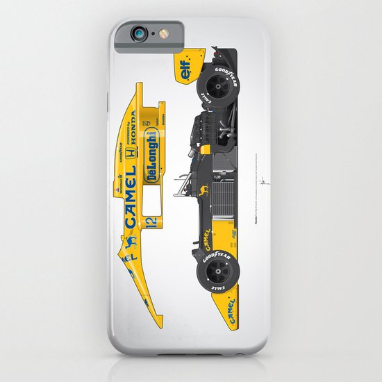 Outline Series N.º5, Ayrton Senna, Lotus 99T-Honda, 1987 iPhone & iPod Case