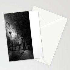 wolf creature black and white Stationery Cards