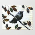 Raven Melody ... Collage Bird Art Canvas Print