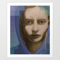 Real girl, digital world Art Print