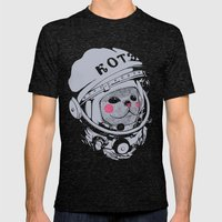 Spaceman Cat Mens Fitted Tee Tri-Black SMALL