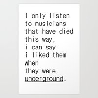 Underground Music Art Print
