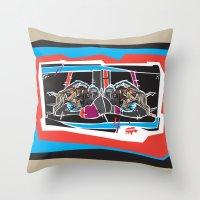 Buffalo Brawl 2 Throw Pillow
