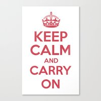 keep Calm and Carry On - Red/White Book Canvas Print