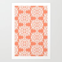 Behind Damask - Peach Art Print