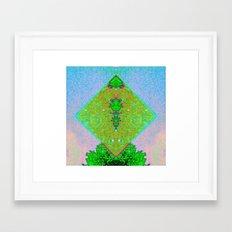 Glitch art in green 1.2 Framed Art Print