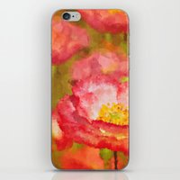 Red and White Poppy Flowers Abstract Botanical Garden Floral Landscape iPhone & iPod Skin