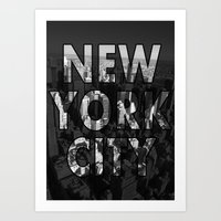 New York City - Black Art Print