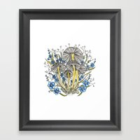 Blue Flowers And Mushroo… Framed Art Print