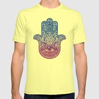 Talk To The Hamsa Mens Fitted Tee Lemon SMALL