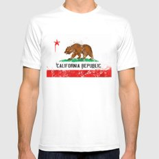 California Flag SMALL Mens Fitted Tee White