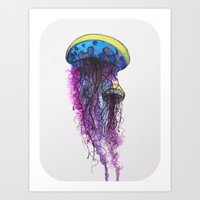 Sketchy Jellyfish Art Print