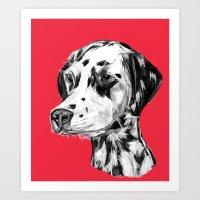 Dalmatian Red  Art Print