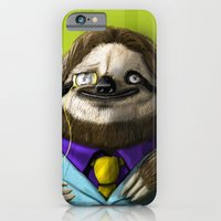iPhone & iPod Case featuring The Fanciest Sloth by awkwardyeti