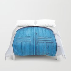 Vibrant Blue Greek Door to Whitewashed Home in Crete, Greece Duvet Cover