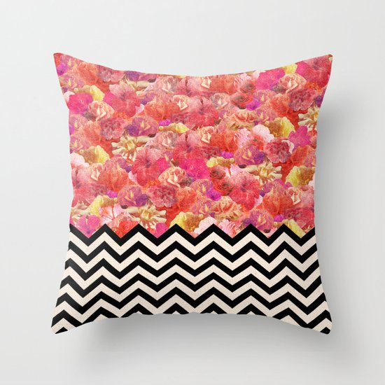Chevron Flora Throw Pillow