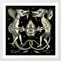 Heraldic Beasts with All-Seeing Orb Art Print